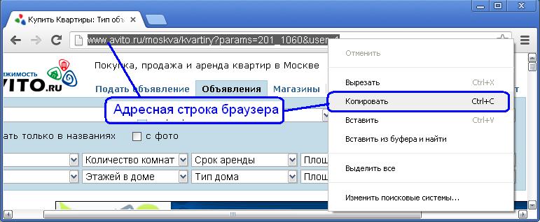 Копирование адресной строки браузера сайта avito.ru