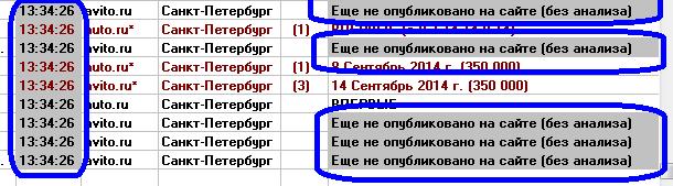 Если с момента выхода объявления еще не прошло более 30 минут, в результатах анализа используется надпись «Еще не опубликовано на сайте (без анализа)»