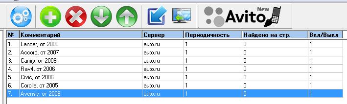 Пример настроек мониторинга auto.ru