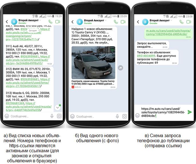 окно ICQ-клиента с оповещениями о новых объявлениях (Автоверсия)